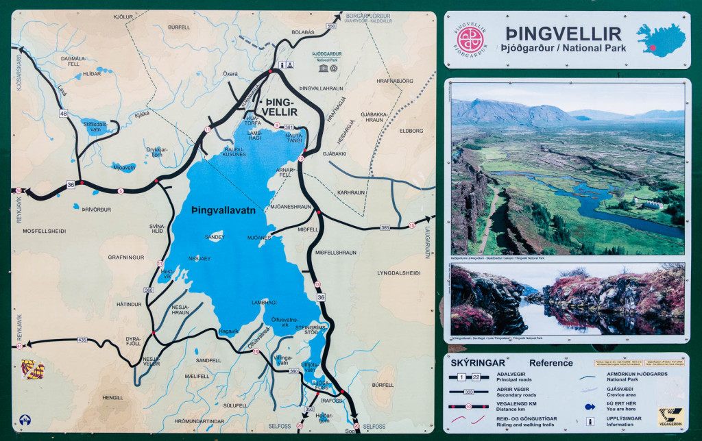 Map of Thingvellir National Park, Iceland