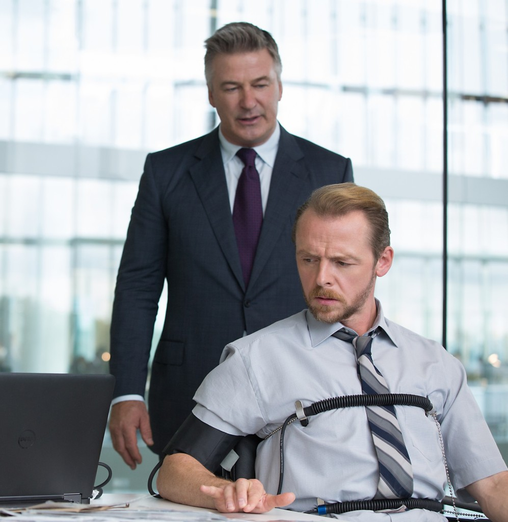 Left to right: Alec Baldwin plays Hunley and Simon Pegg plays Benji in Mission: Impossible - Rogue Nation from Paramount Pictures and Skydance Productions.